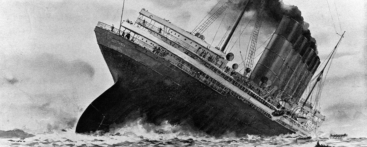 World War I, 7th May 1915, An illustration of the sinking of the British ocean liner RMS Lusitania, torpedoed by German U-boat U-20 off the old head of Kinsale, Ireland  (Photo by Popperfoto/Getty Images)